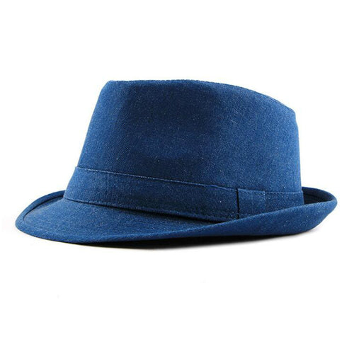 men denim fedoras solid wide brim jean jazz hat cotton summer male cap  vintage flat men 02c5fd747e9b