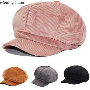 Women Man Winter Corduroy  newsboy Cap Retro Baseball Cap snapback cap Leisure hat accessories