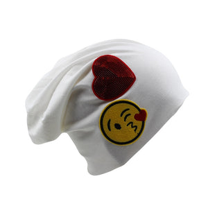 [miaoxi] Cheap High Quality Women Fashion Autumn Cap Thin Girls Smiling Face Casual Hat Love Cotton Beanies Women's Bonnet Sale