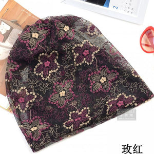 Fashion Summer Thin Women Hat Floral Casual Adult Ladies Caps Cheap Beauty Bonnet Polyester Female Beanies Skulliess
