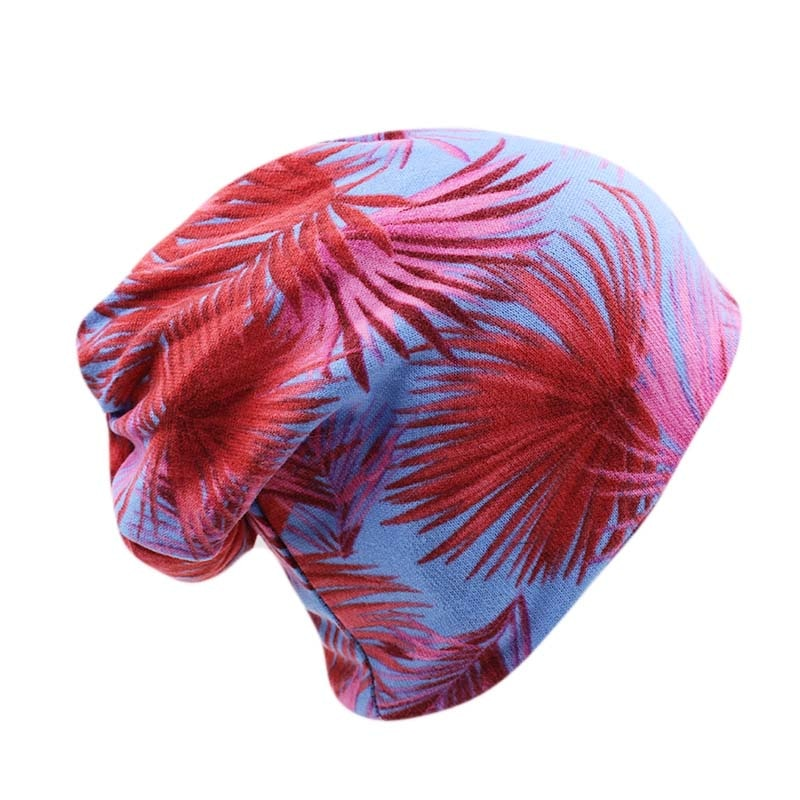 New Cheap 2 Used Women Cap Fashion Girls Autumn Winter Warm Beanies Knit Floral Leaf Hats For Lady Bonnet Scarf Brand Hat