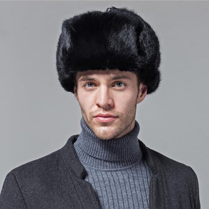 natural black real rabbit fur hat men winter fur cap genuine women's Bomber Hats Russia style warm snow headwear with ear flaps