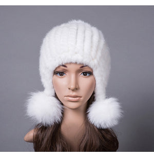 3b3dbe41649cb3 natural mink fur hat for winter women knitted earflap fur hats autumn warm  fur pom pom beanies beige blue pink 10 colors H919