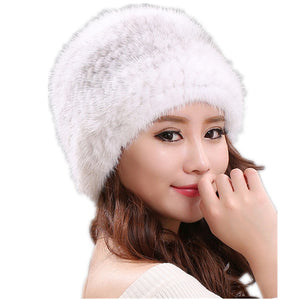 a8f611fa23323 natural mink fur hats for women winter knitted fur caps autu winter real  fur beanies white