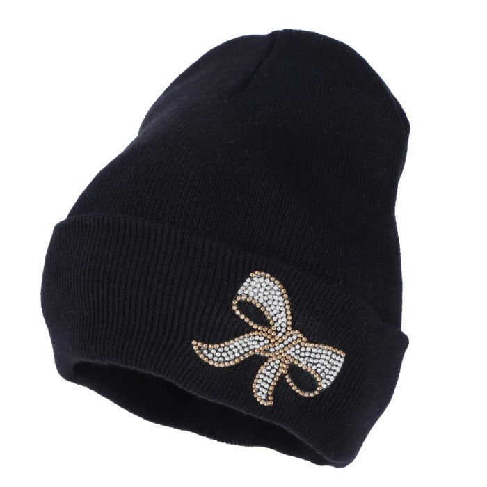 new design women beanie girl casual winter hat bowknot shaped Bling rhinestone beauty skullies woman fashion winter beanies hats