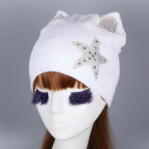 new design women star beanies winter hats DMC crystal decorated thermal skullies High quality cotton thick girl beauty beanie