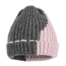 Load image into Gallery viewer, new design women wo winter hat cashmere beanies skullies gorros one layer elastic double color patchwork pattern beauty gorros