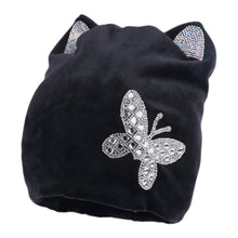 Load image into Gallery viewer, new fashion women beauty beanies warmly soft Girl winter hat with crystal ear butterfly pattern thick thermal skullies gorros