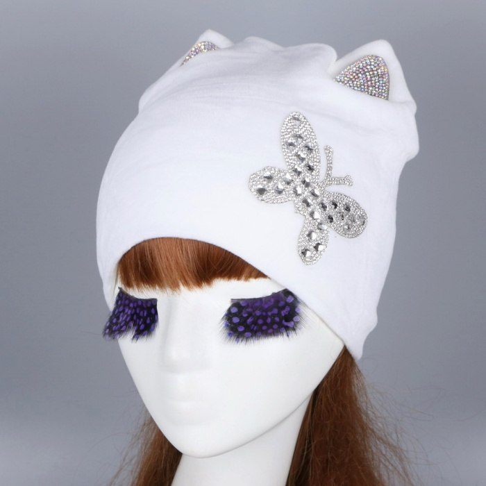 new fashion women beauty beanies warmly soft Girl winter hat with crystal ear butterfly pattern thick thermal skullies gorros