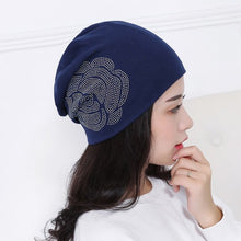 Load image into Gallery viewer, new fashion women girl floral beanies hat cap mix colored rhinestone rose design casual winter hats beauty gorros skullies