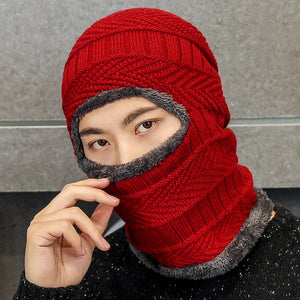 Balaclava Knitted Hat Scarf Caps Neck Warmer Winter Hats For Men Women Skullies Beanies Warm Fleece Cap 4 Colors