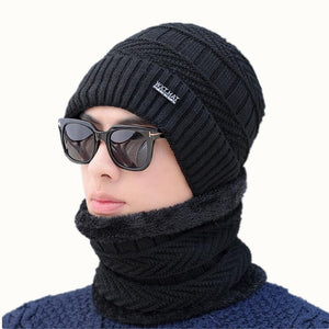 05e5678a585 hot selling 2pcs ski cap and scarf cold warm leather winter hat for women  men Knitted