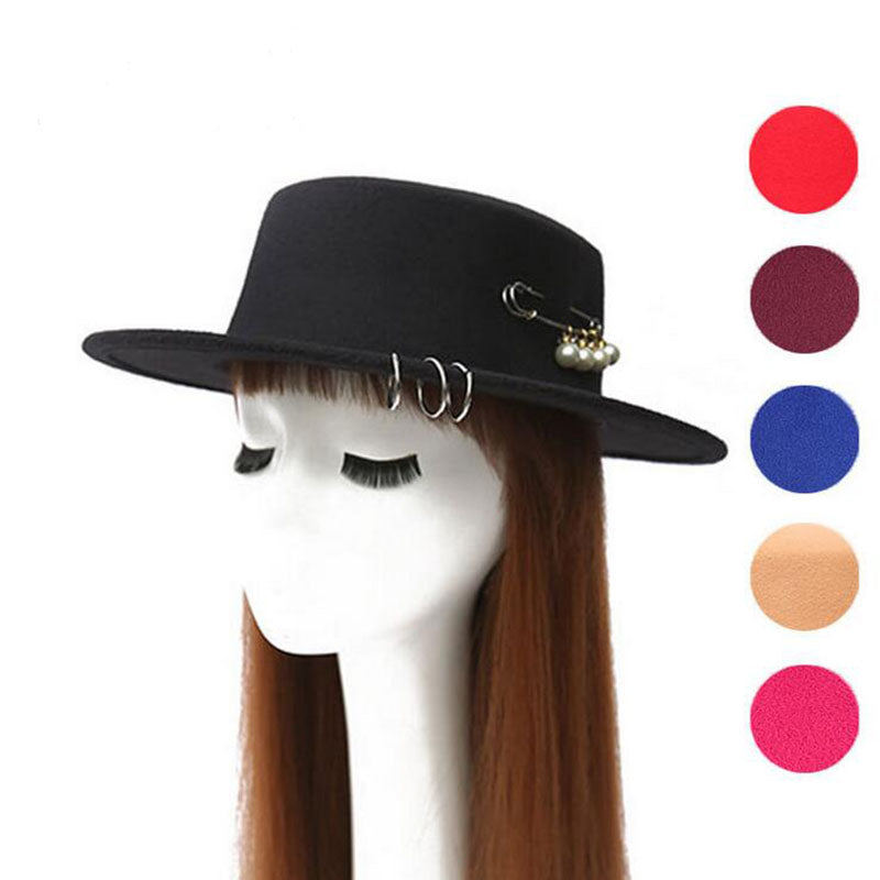 [ozyc]pin pearl chapeau femme Vintage fashionable black top felt fedora hat men sombrero bowler church trilby hats for women