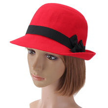 Load image into Gallery viewer, Fall Winter Women Hard  Fedoras Vintage Fashion Polyeste Solid Hat Trendy Bowler Derby Hats Felt Bowknot FedoraCloche Caps