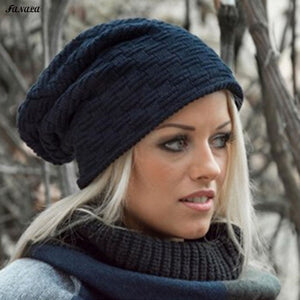 Winter Hat for Women Men Knitted Cotton Hat Beanies Cap Brand New Thick Solid Stretchy Female Cap