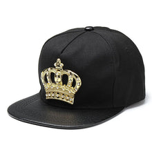 Load image into Gallery viewer, Mens Womens Snapback Hat KING Crown Baseball Caps Adjustable Hip Hop Hats Black Summer Peaked Rhinestone Crystal Sun Cap
