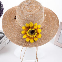 Load image into Gallery viewer, 2017 summer hats for women Fashion Vintage Linen Beach hat outdoor sunflower hat Feminino Fedora Hat Ladies Chapeau 6 Colors