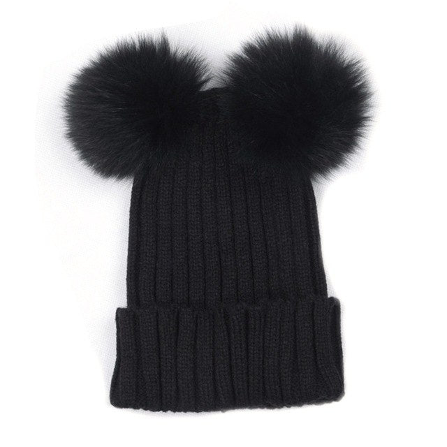 New 2018 Winter Women Mink and Fox Fur Ball Cap Pom Hat for Girl Hat Knitted Beanies Caps New Thick Female Hats W13