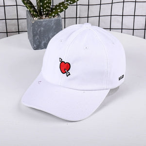 at Cap Men Casual Red Love Heart Printed Baseball Cap Snapback Hats For Female Cotton Dad Hat Hip Hop Bone Drop Shipping