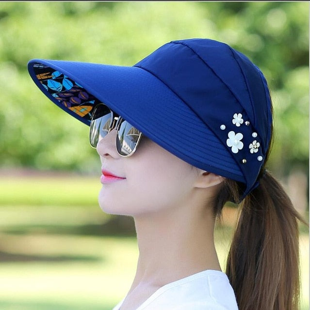 New Summer Adjustable Visor Hat With Big Head Wide Large Brim Anti-sun UV Hat Foldable Straw Sun Cap Girls Ladies Beach Vacation