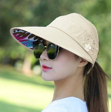Load image into Gallery viewer, New Summer Adjustable Visor Hat With Big Head Wide Large Brim Anti-sun UV Hat Foldable Straw Sun Cap Girls Ladies Beach Vacation