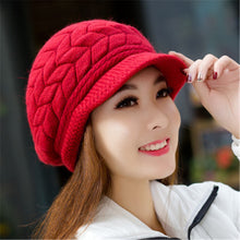 Load image into Gallery viewer, Lady's Caps Newsboy Caps Women Winter Warm Double-deck Hat Headwear Knitted Crochet Hats Sweet Ladies Caps For Female 5Colors