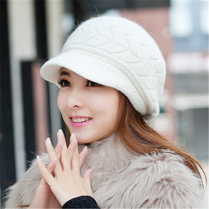 Lady's Caps Newsboy Caps Women Winter Warm Double-deck Hat Headwear Knitted Crochet Hats Sweet Ladies Caps For Female 5Colors