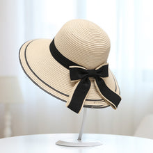 Load image into Gallery viewer, summer straw hat women big wide brim beach hat sun hat foldable sun block UV protection panama hat bone chapeu feminino