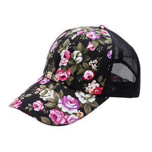 Summer Women Female Floral Hat Baseball Cap Mesh Cool Cap Sports Leisure Sun Visor Sun Hat Snapback Cap 6 Colors P1