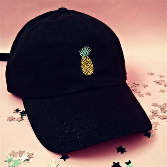 Spring Summer Baseball Hat Women's Men's Cap Pineapple Print Adjustable Snapback Cap Cotton Unisex Cap Outdoor Hip Hop Black