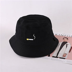 Summer Fashion Letter Embroidery Cigarette Double Side Hats Vintage Canvas Fisherman Hat Women Girls Couple Sunhat Cap Hip Hop P