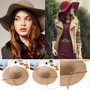 Beach Style Vintage Bow Blend Wide Tie Sun Hat Women Floppy  Brim Wool