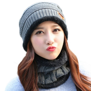 2017 Autumn Winter Unisex  2pcs Warm Knitted Hat + Muffler Snowflake Chapeau Cap Hockey Ski Beanies W12