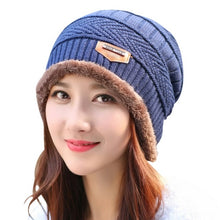 Load image into Gallery viewer, 2017 Autumn Winter Unisex  2pcs Warm Knitted Hat + Muffler Snowflake Chapeau Cap Hockey Ski Beanies W12