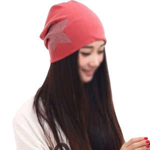 Winter Women Cotton Head Cap Hot Diamond Five-pointed Hats Star Czech Diamond Watermill Beanies W12