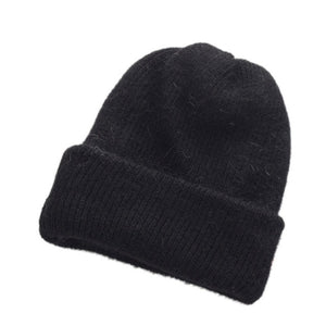 Autumn Winter Women Warm Rabbit Fur Knitted Beanies Thick Double Layer Wool Skullies Female Hat W12