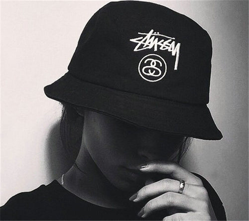 Korean STUSSY Letter Embroidery Hat Bucket Hats Spring and Summer Sun Hat Male and Female Couple