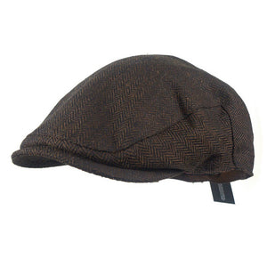 Men Winter Warm Wool Tweed Flat Cap Beret Newsboy Cap Hat