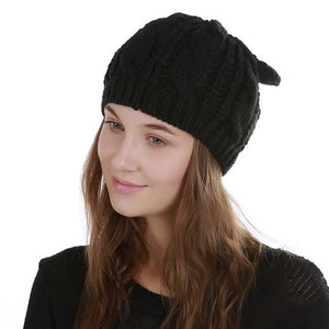 Lovely Jacquard 8 Word Twist Cat Ears Caps For Women Cap Winter Beanies Warm Wool Skullies knitted Girls Sweet Cute Hats X1