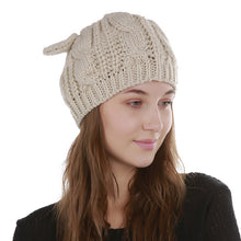 Load image into Gallery viewer, Lovely Jacquard 8 Word Twist Cat Ears Caps For Women Cap Winter Beanies Warm Wool Skullies knitted Girls Sweet Cute Hats X1