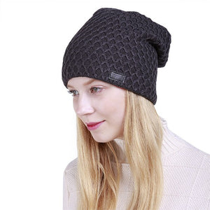 Fashion Hat For Men Women Mesh Knit Cap Fold Cashmere Winter Beanies Warm Caps Female Knitted Stylish Hats X1
