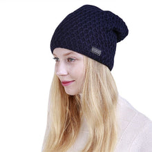 Load image into Gallery viewer, Fashion Hat For Men Women Mesh Knit Cap Fold Cashmere Winter Beanies Warm Caps Female Knitted Stylish Hats X1