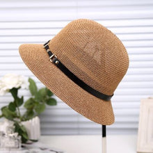 Load image into Gallery viewer, The summer sun boater panama hat with Wide Brim hat style for Women, Straw, straw hats and UV Protection