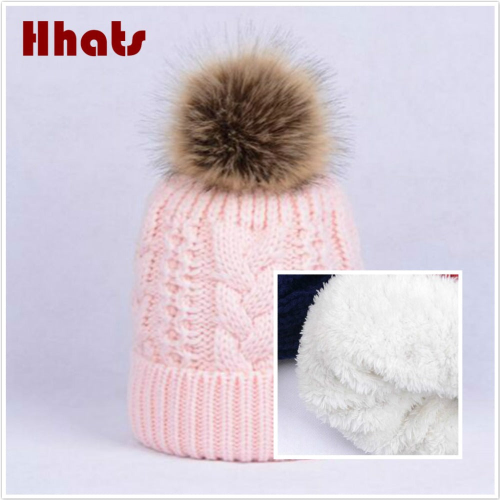 632172e87 super thick warm cable knitted hat cap fleece inner women winter hat with  faux rabbit fur pompom top outdoor ski bonnet beanies