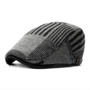 black gray khaki patchwork plaid adult unisex winter hat women men thick warm woolen beret fashion flat cap bone