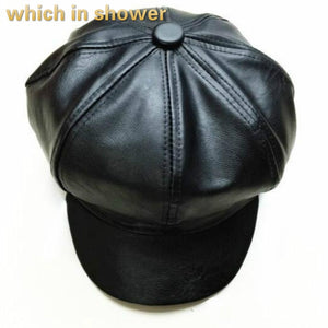 black newsboy cap for women solid color PU flat cap Faux leather snapback octagonal Hats blank painter cap bone