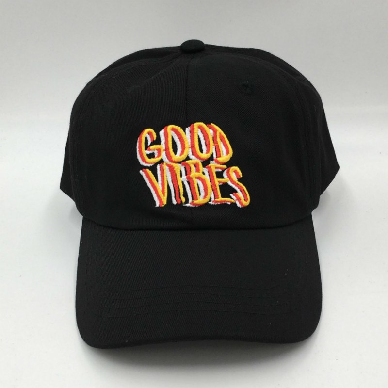 embroidery black GOOD VIBES dad hat women adjustable cotton snapback baseball cap hip hop men summer sun hat cap
