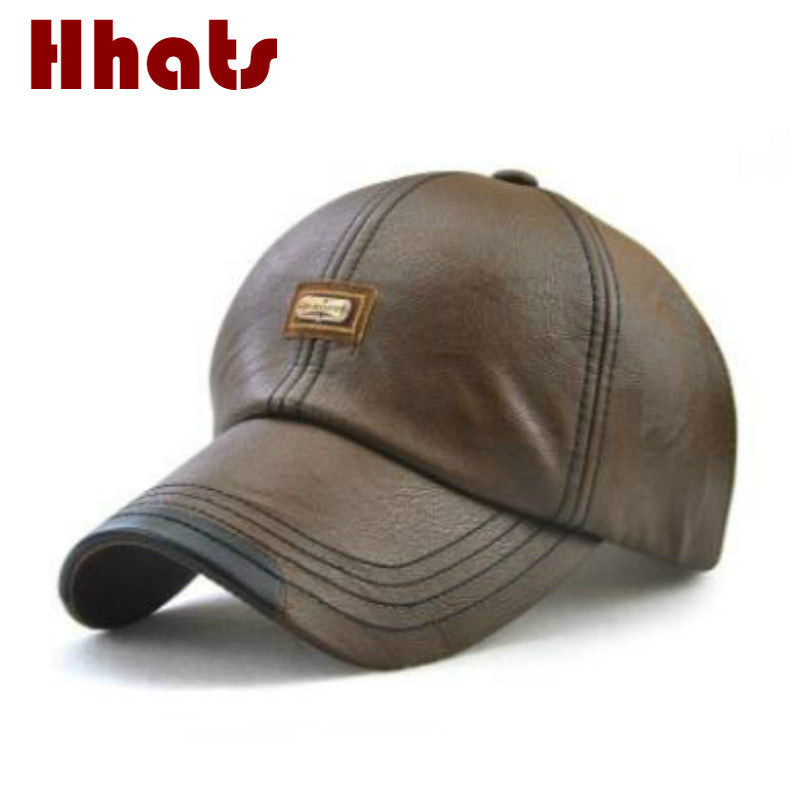 fashion high quality fall winter men faux leather hat cap casual women PU snapback hat blank men's baseball cap