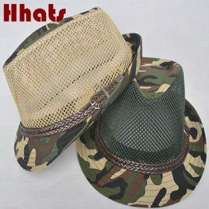 77cda0f9741 fashion mesh sun hat men brim camo summer male cap breathable beach hat  camouflage panama casquette gorras