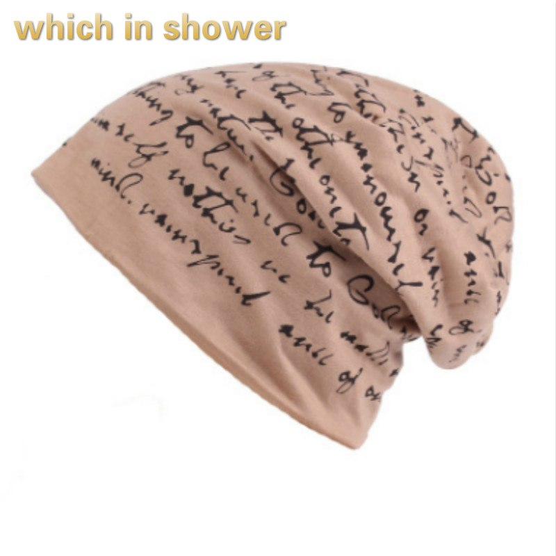 letter printed turban hat women men casual stocking hat cap spring summer skullies beanies fashion male bone